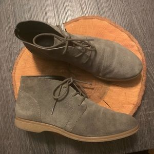 FRANCO SARTO Gray Suede Lace Up Ankle Booties 7.5